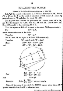 Squaring the circle. Journal of the Indian Mathematical Society
